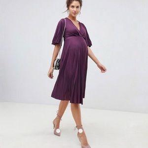 ASOS DESIGN MATERNITY KIMONO pleated midi dress